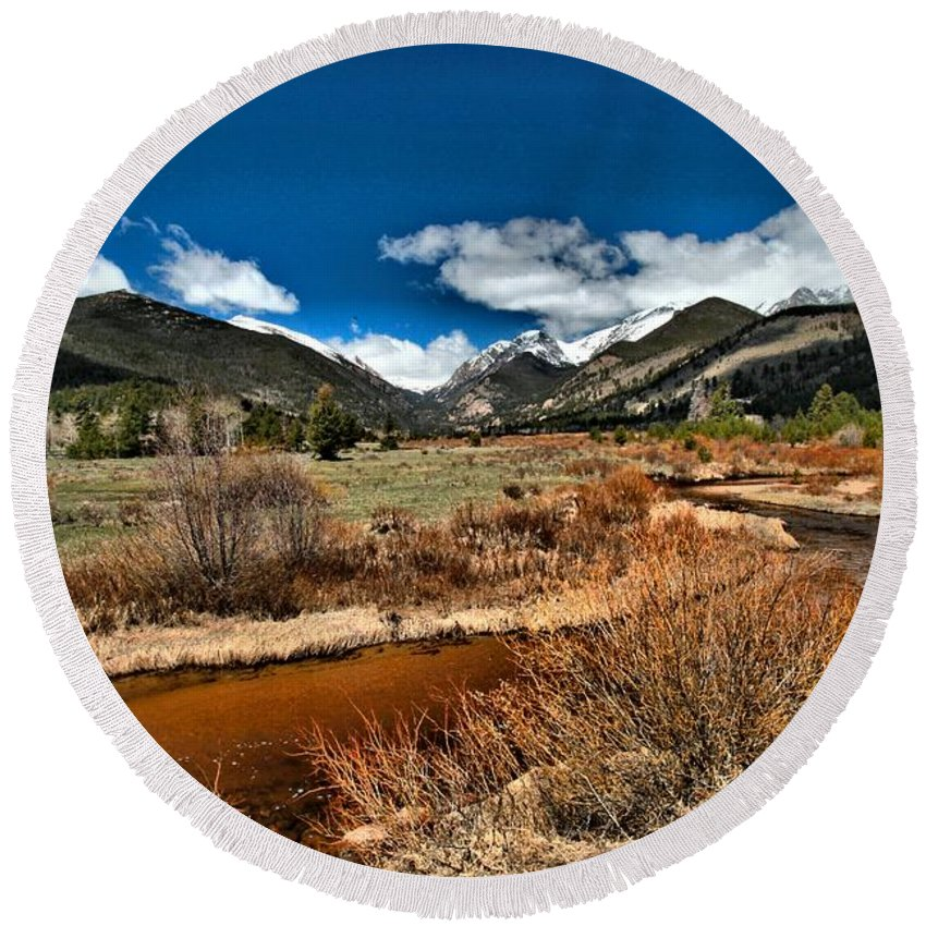 Rocky Mountain National Park Round Beach Towel featuring the photograph Rocky Mountain Meadows by Adam Jewell
