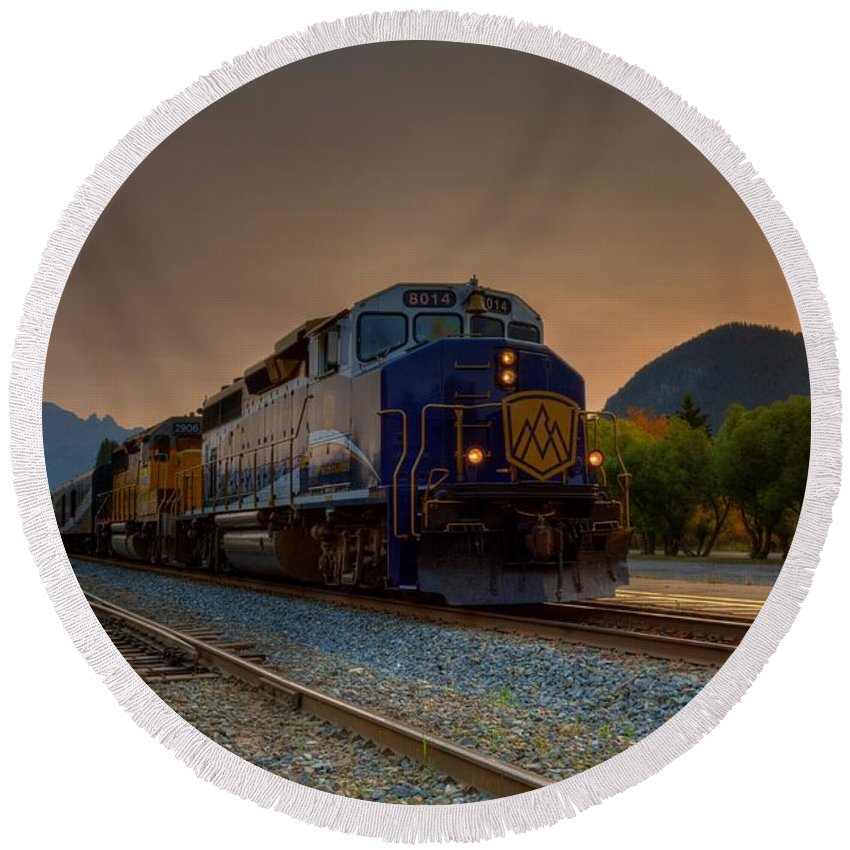 Banff Round Beach Towel featuring the photograph Rocky Mountaineer Sunrise by James Anderson