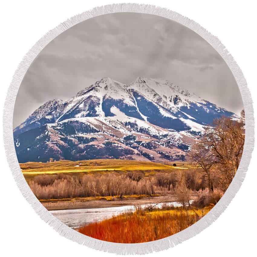 America Round Beach Towel featuring the photograph Rocky Mountains In Montana by Alex Grichenko