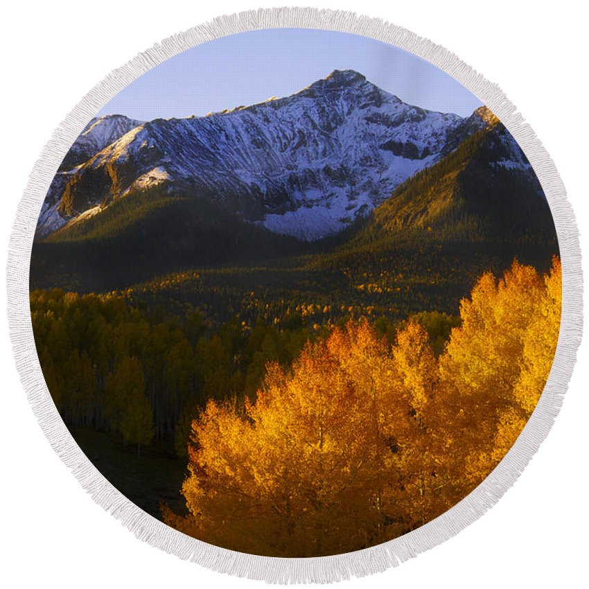 Rocky Mountains Round Beach Towel featuring the photograph Rocky Mountains by Jeff Shumaker