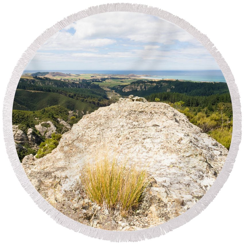 .coast Round Beach Towel featuring the photograph Rocky Outcrops Of Trotters Gorge Otago Nz by Stephan Pietzko