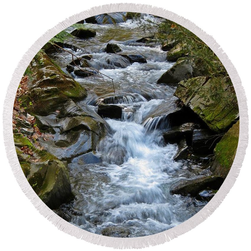 Stream Round Beach Towel featuring the photograph Rocky Stream by MTBobbins Photography