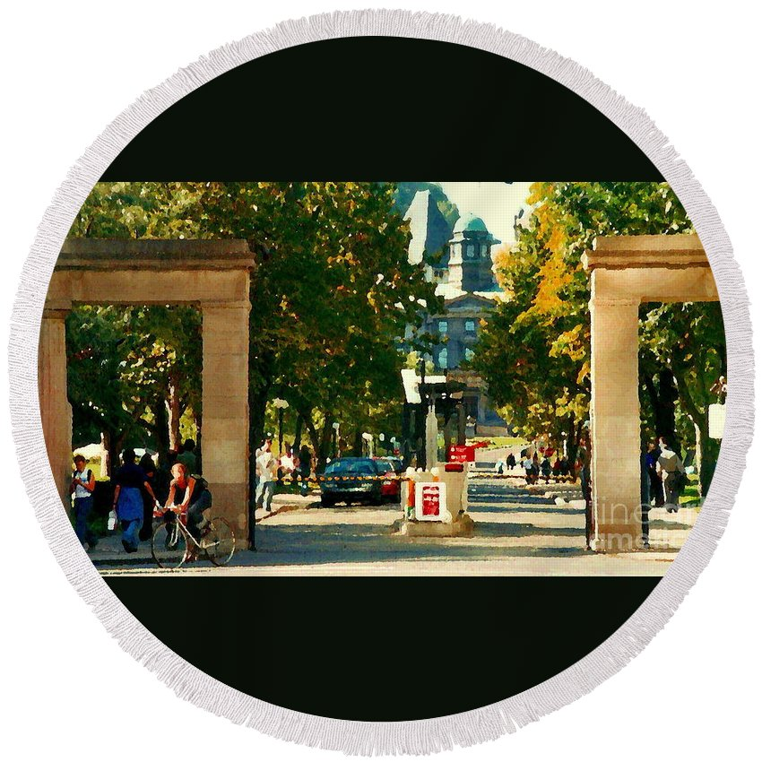 Mcgill University Round Beach Towel featuring the painting Roddick Gates Painting Mcgill University Art Students Stroll The Grand Montreal Campus C Spandau by Carole Spandau