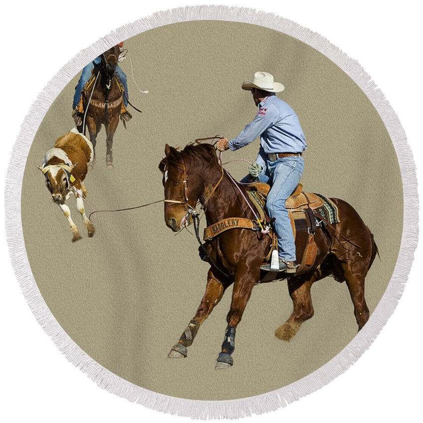 Tucson Rodeo Round Beach Towel featuring the photograph Rodeo 37 by Larry White