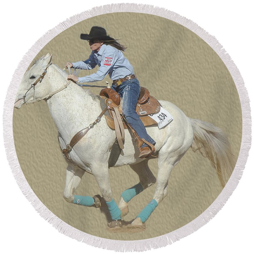 Tucson Rodeo Round Beach Towel featuring the photograph Rodeo 44 by Larry White