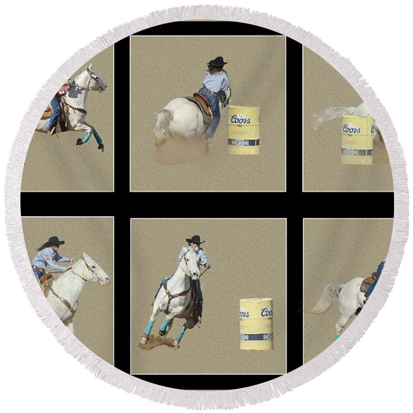 Rodeo Round Beach Towel featuring the photograph Rodeo Collage 2 by Larry White