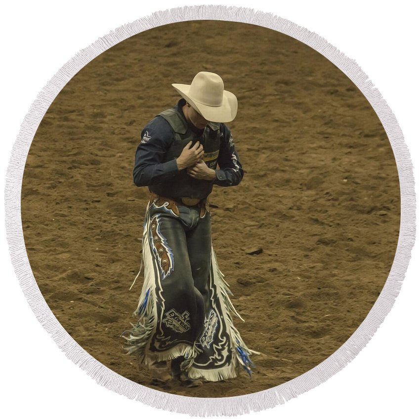 Rodeo Round Beach Towel featuring the photograph Rodeo Cowboy Dusting Off by Janice Pariza