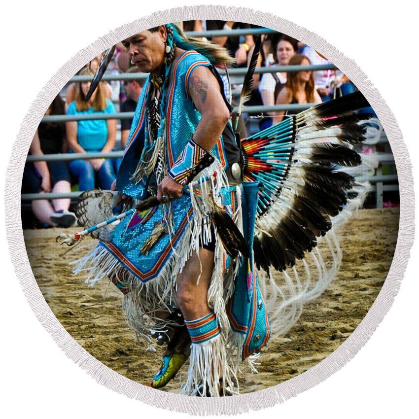 American Indian Round Beach Towel featuring the photograph Rodeo Indian Dance by Gary Keesler