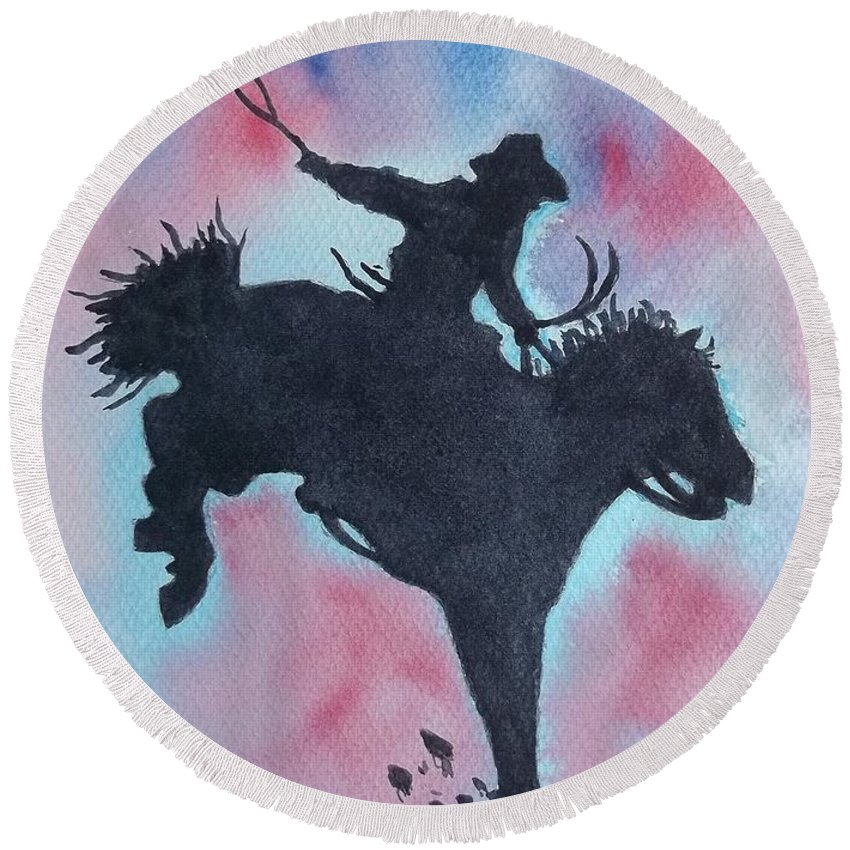 Rodeo Landscape Round Beach Towel featuring the painting Rodeo No 1 by Don Hand