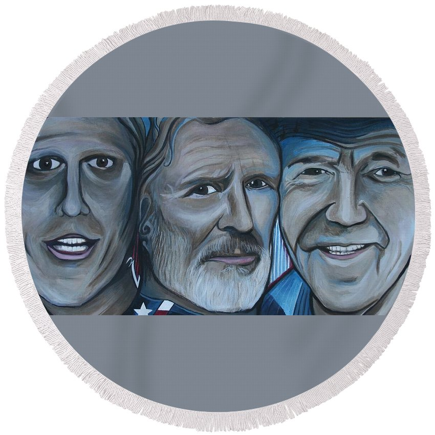 Roger Alan Wade Round Beach Towel featuring the painting Roger Alan Wade Kris Kristoferson Billy Joe Shaver by Kate Fortin
