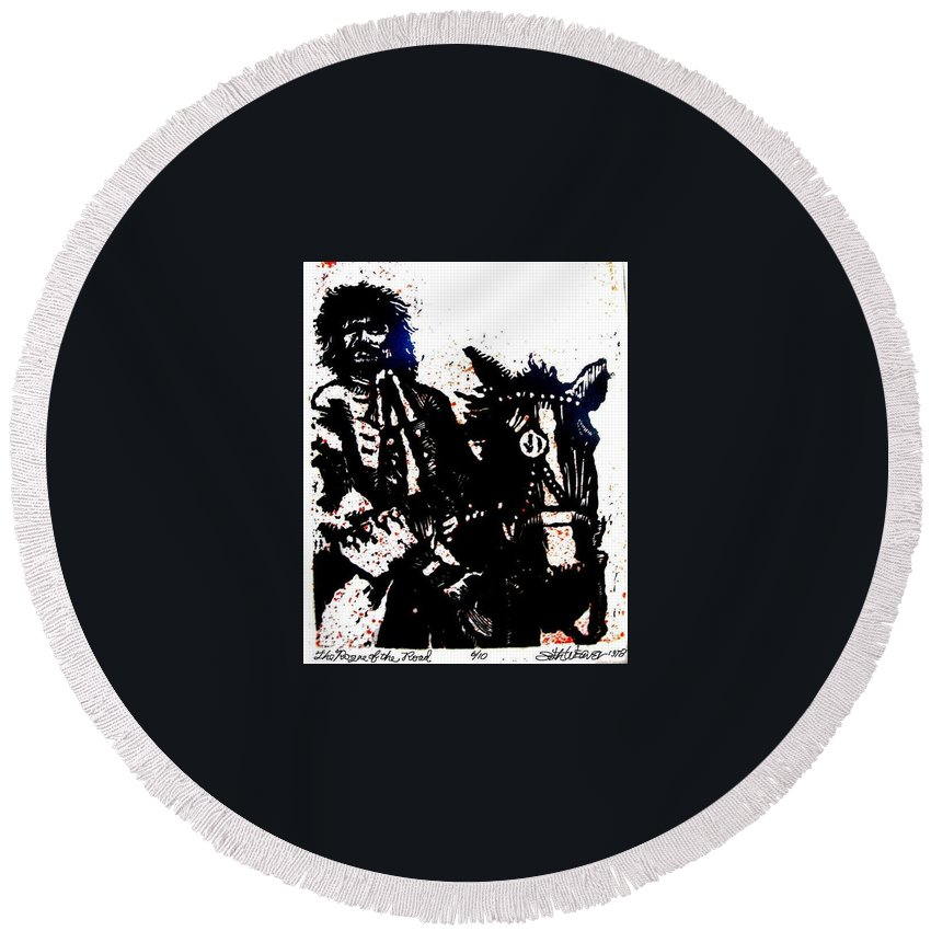 English Highwayman Round Beach Towel featuring the mixed media Rogue of the Road by Seth Weaver