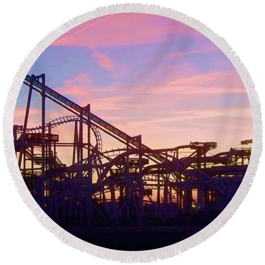 Roller Coaster Round Beach Towel featuring the photograph Roller Coaster At The Nj Shore by Eric Schiabor