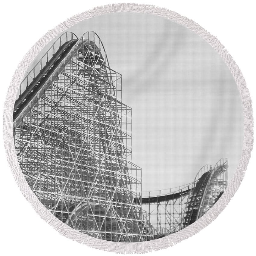 Roller Coaster Round Beach Towel featuring the photograph Roller Coaster Wildwood by Eric Schiabor