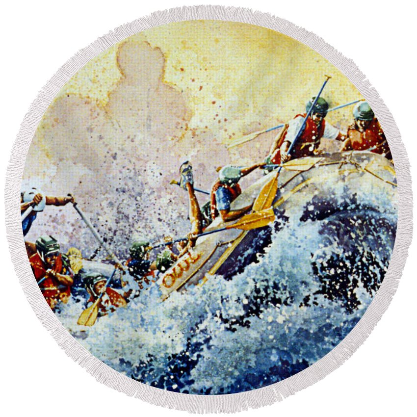 Sports Art Round Beach Towel featuring the painting Rollin' Down The River by Hanne Lore Koehler