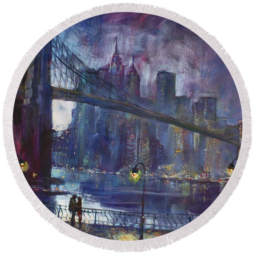 Brooklyn Bridge Round Beach Towel featuring the painting Romance by East River NYC by Ylli Haruni