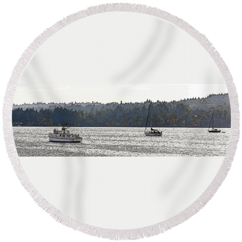 Sailboats Round Beach Towel featuring the photograph Romance II On Liberty Bay by Greg Reed
