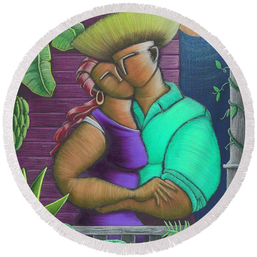 Puerto Rico Round Beach Towel featuring the painting Romance Jibaro by Oscar Ortiz