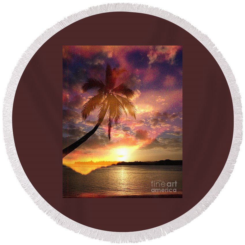 Landscape Round Beach Towel featuring the digital art Romance by Yael VanGruber