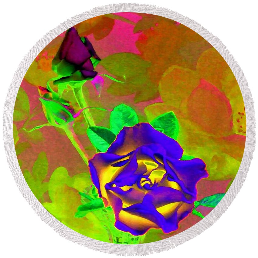 Romancing The Rose Round Beach Towel featuring the digital art Romancing The Rose by Will Borden