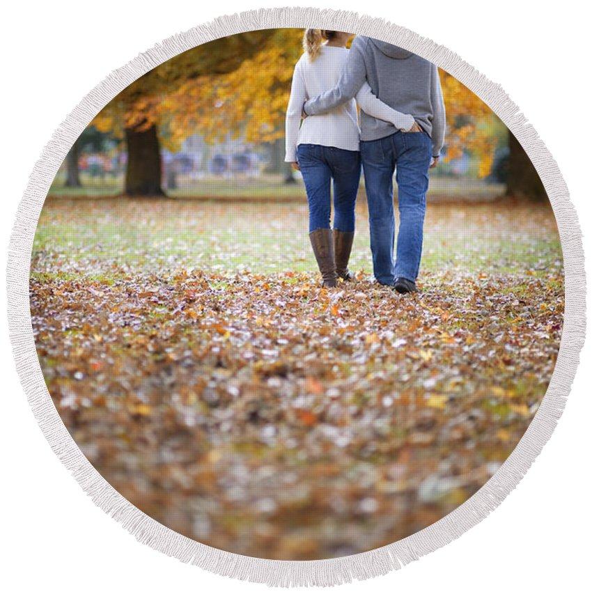 Couple Round Beach Towel featuring the photograph Romantic Couple On An Autumn Walk by Lee Avison