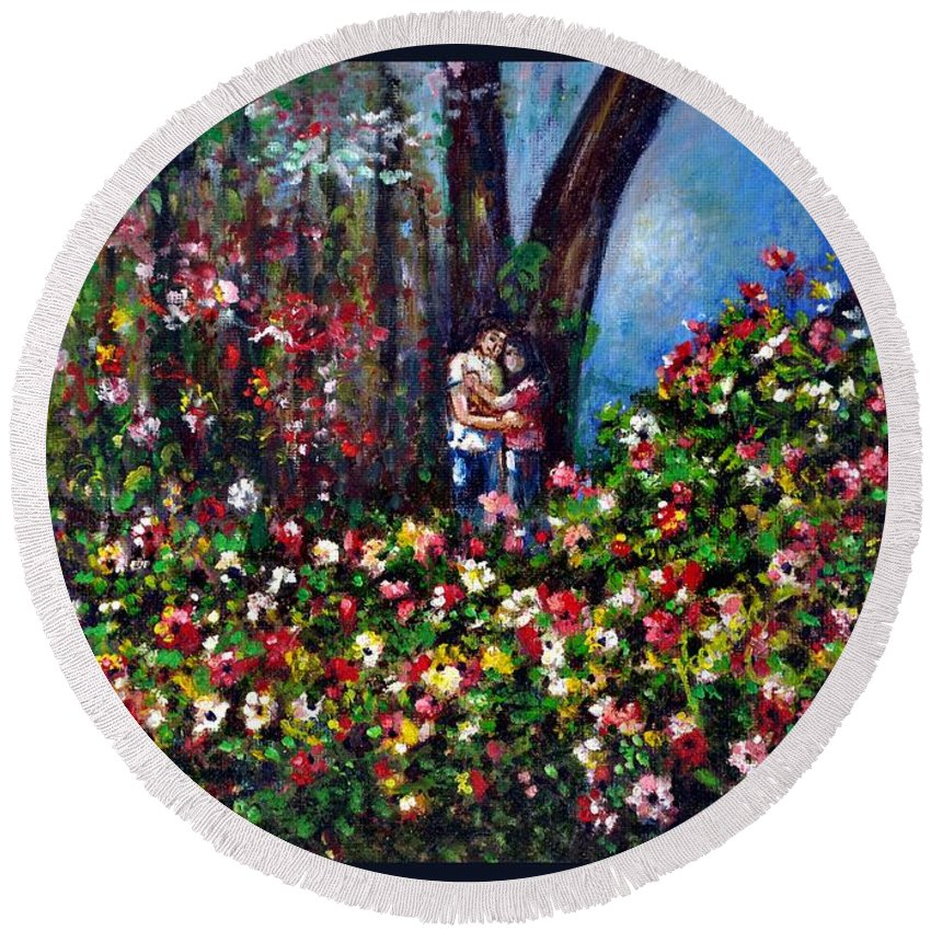 Scene Round Beach Towel featuring the painting Romantic by Harsh Malik