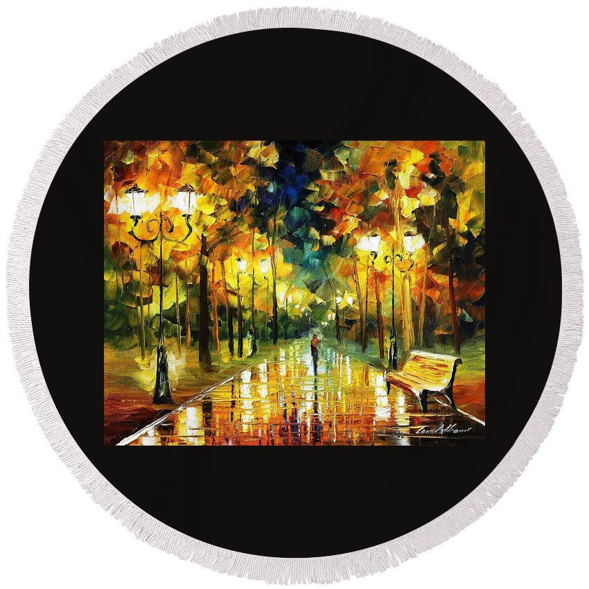 Oil Paintings Round Beach Towel featuring the painting Romantic Lights - Palette Knife Oil Painting On Canvas By Leonid Afremov by Leonid Afremov