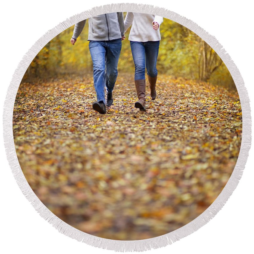 Couple Round Beach Towel featuring the photograph Romantic Woodland Walk In Autumn by Lee Avison