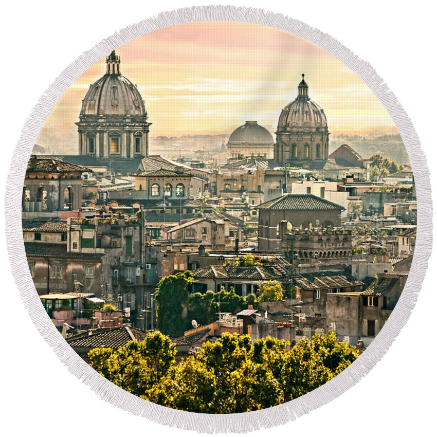 Architecture Round Beach Towel featuring the photograph Rome by Luciano Mortula