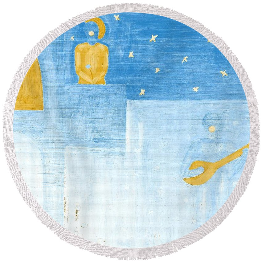 Singing Round Beach Towel featuring the painting Romeo And Juliet 5 by Patrick J Murphy