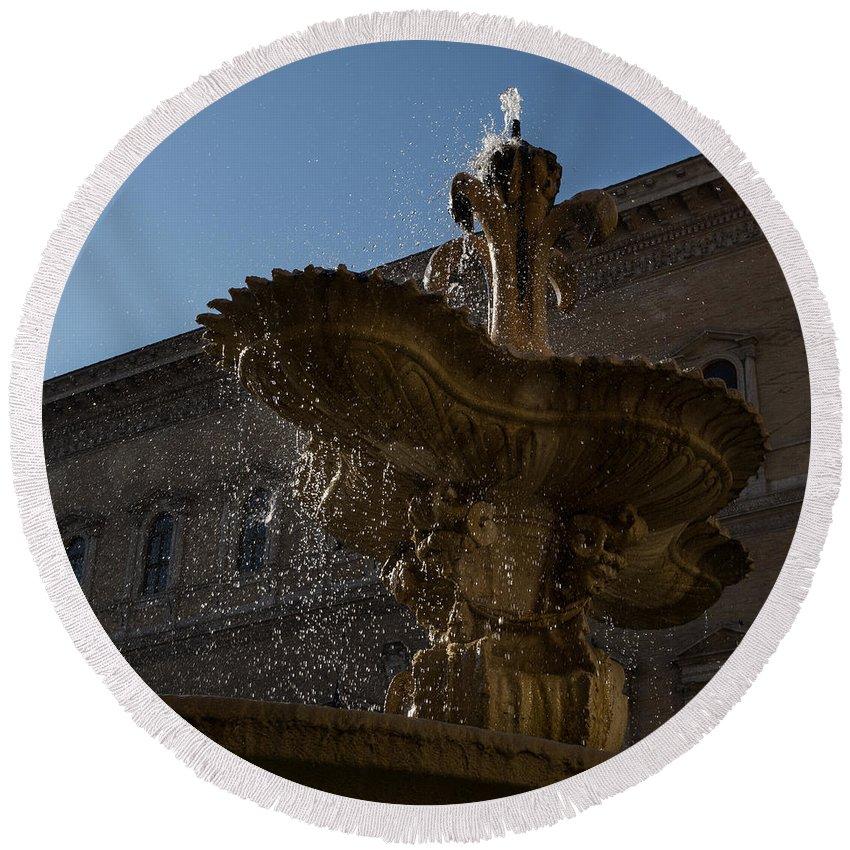 Fountain Round Beach Towel featuring the photograph Rome's Fabulous Fountains - Piazza Farnese Fountain by Georgia Mizuleva