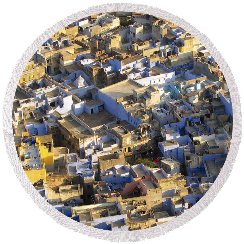 Aerial Round Beach Towel featuring the photograph Rooftops In India by Tim Hester
