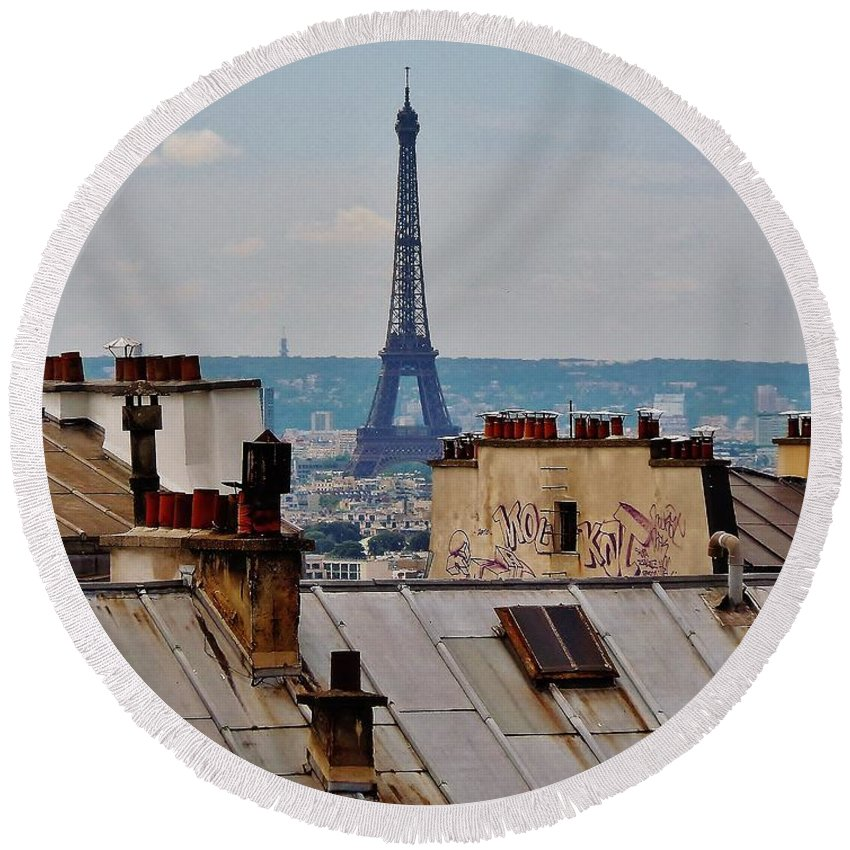 Paris Round Beach Towel featuring the photograph Rooftops Of Paris And Eiffel Tower by Marilyn Dunlap