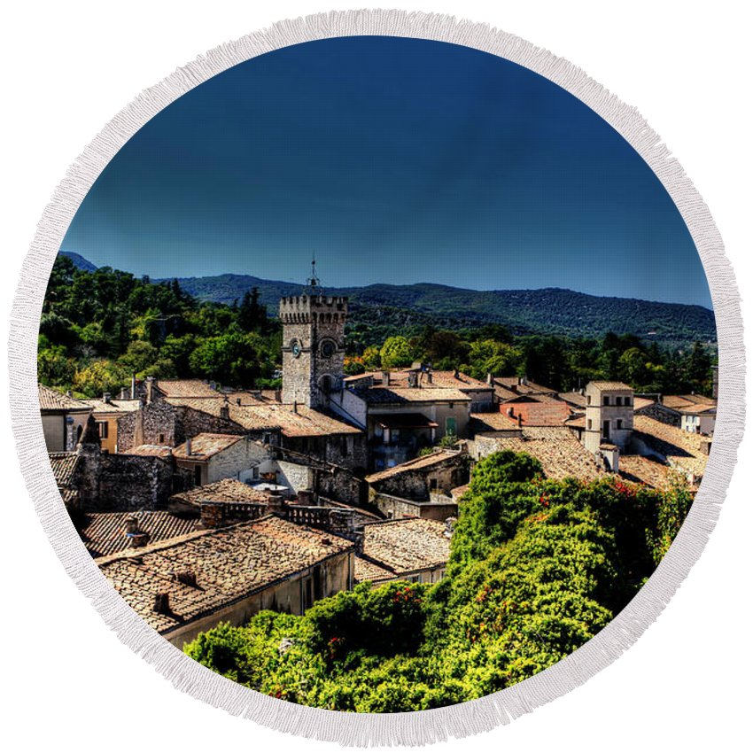 Europe Round Beach Towel featuring the photograph Rooftops by Tom Prendergast