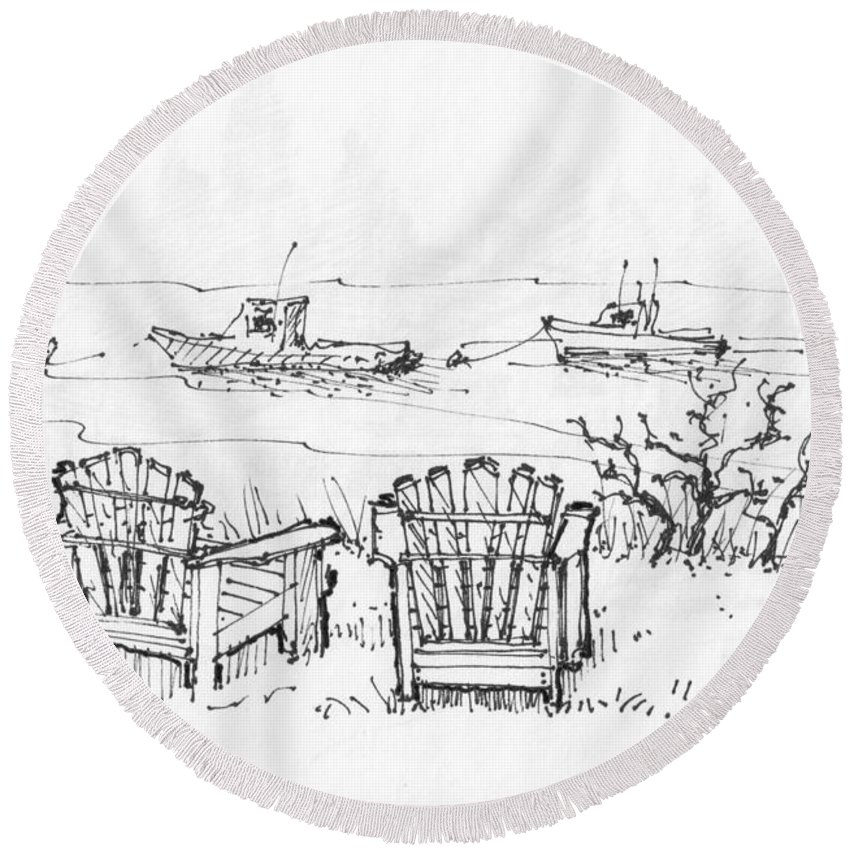The Island Inn Round Beach Towel featuring the drawing Room For Two Monhegan Island 1993 by Richard Wambach