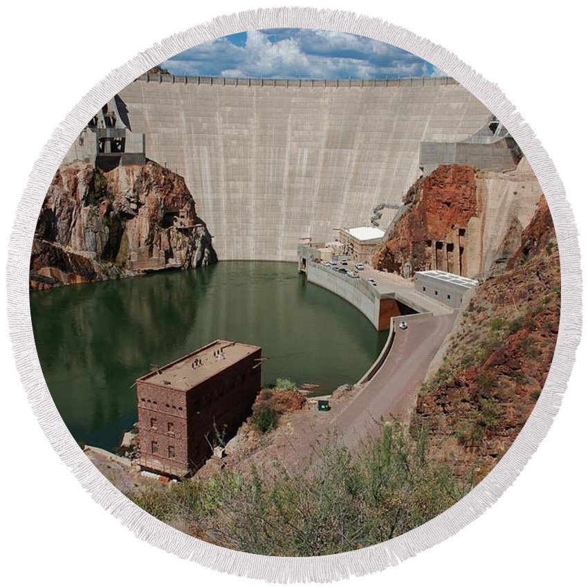 America Round Beach Towel featuring the photograph Roosevelt Dam by Dany Lison