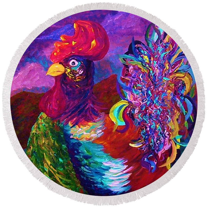 Rooster Round Beach Towel featuring the painting Rooster On The Horizon by Eloise Schneider