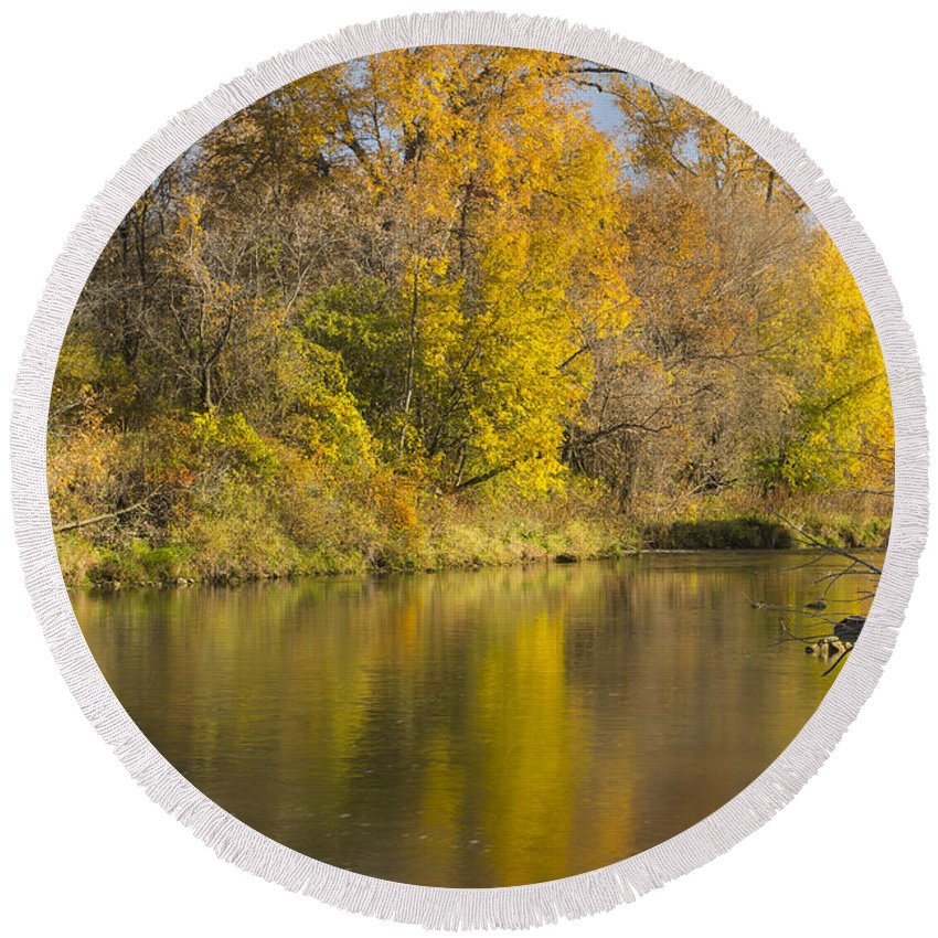 River Round Beach Towel featuring the photograph Root River Autumn 1 by John Brueske