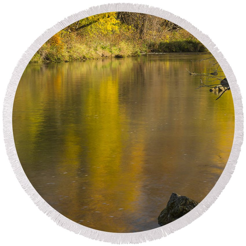 River Round Beach Towel featuring the photograph Root River Autumn 2 by John Brueske