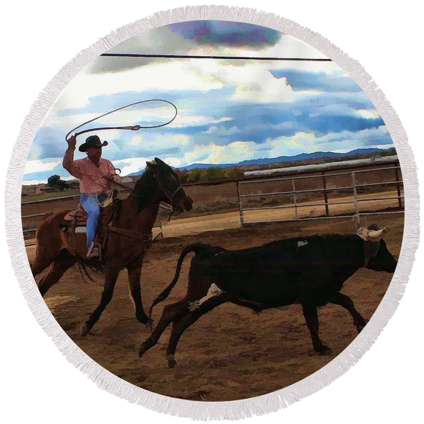 Cowboy Round Beach Towel featuring the photograph Roping by Tommy Anderson
