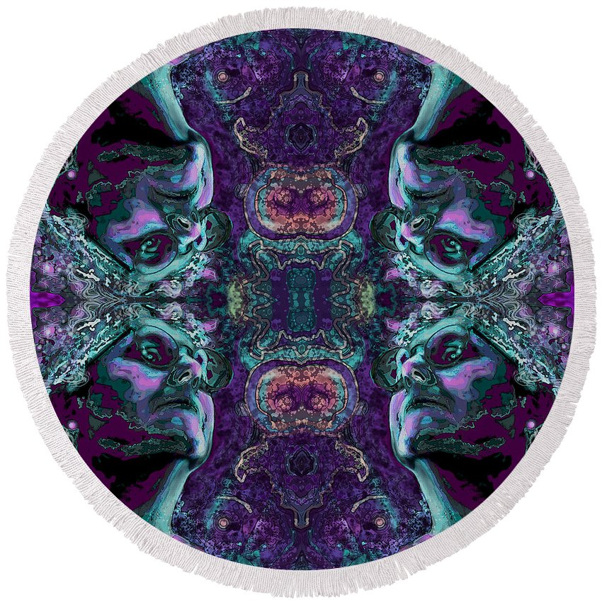 Rorschach Round Beach Towel featuring the digital art Rorschach Me by Carol Jacobs