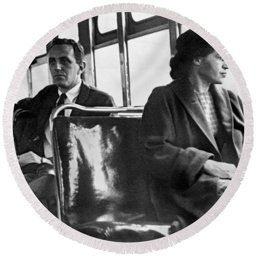 1956 Round Beach Towel featuring the photograph Rosa Parks On Bus by Underwood Archives