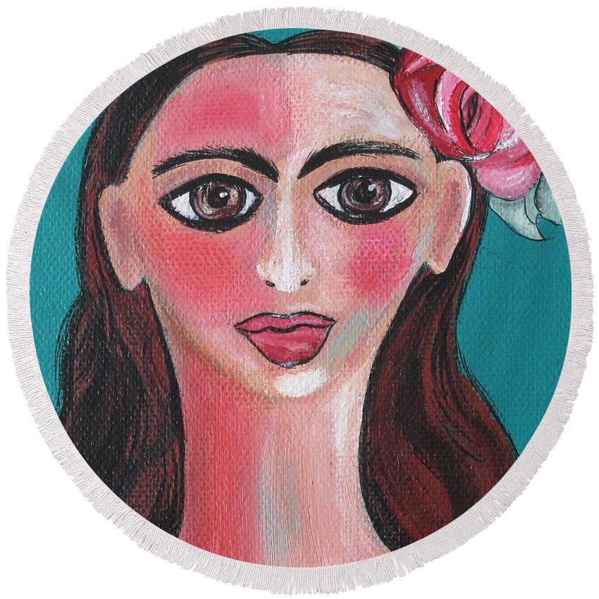 Canvas Round Beach Towel featuring the painting Rosa by Sue Wright