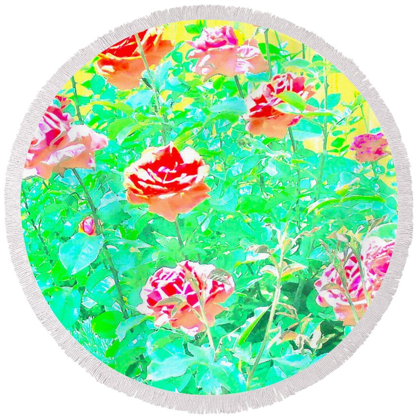 Flowers Round Beach Towel featuring the photograph Rose 40 by Pamela Cooper