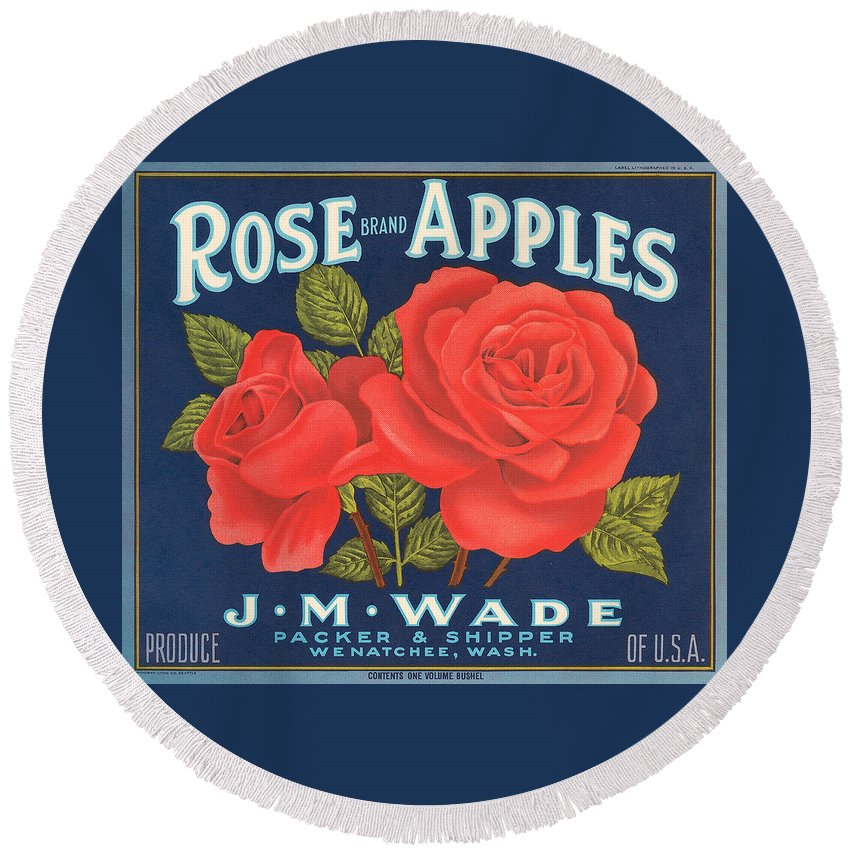 Rose Brad Apples Crate Label Round Beach Towel featuring the digital art Rose Brad Apples Crate Label by Label Art