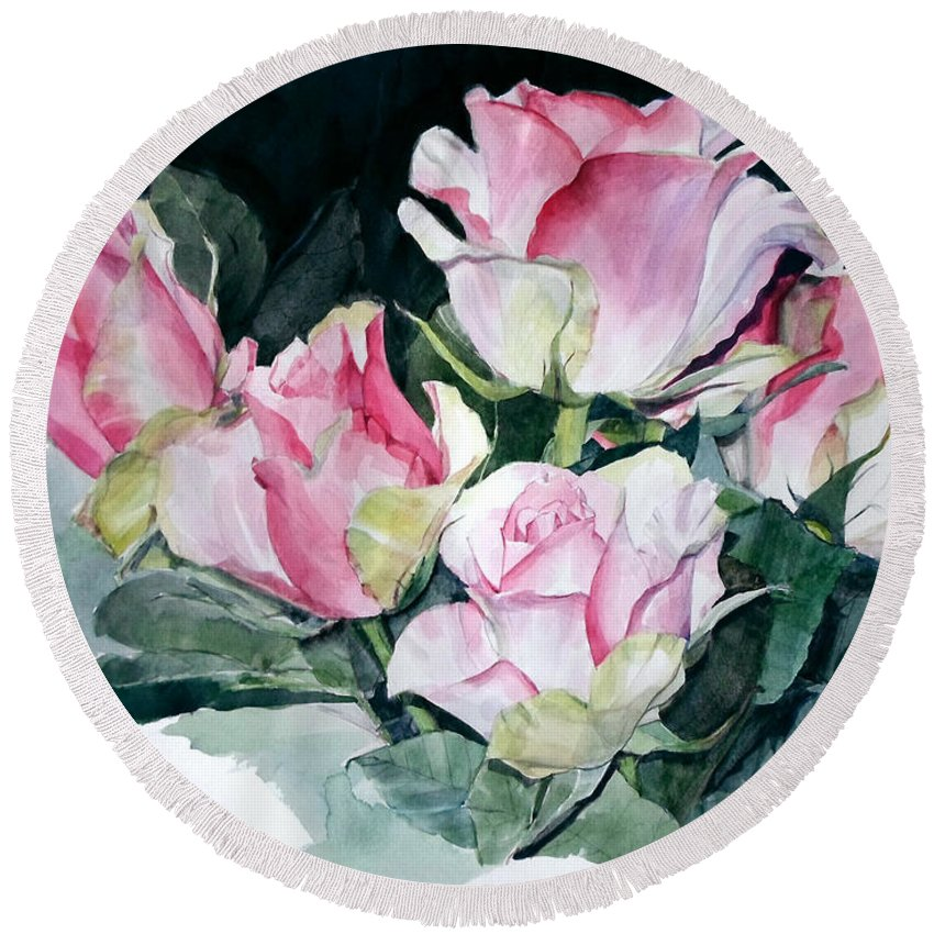 Watercolor Round Beach Towel featuring the painting Watercolor Of A Pink Rose Bouquet Celebrating Ezio Pinza by Greta Corens