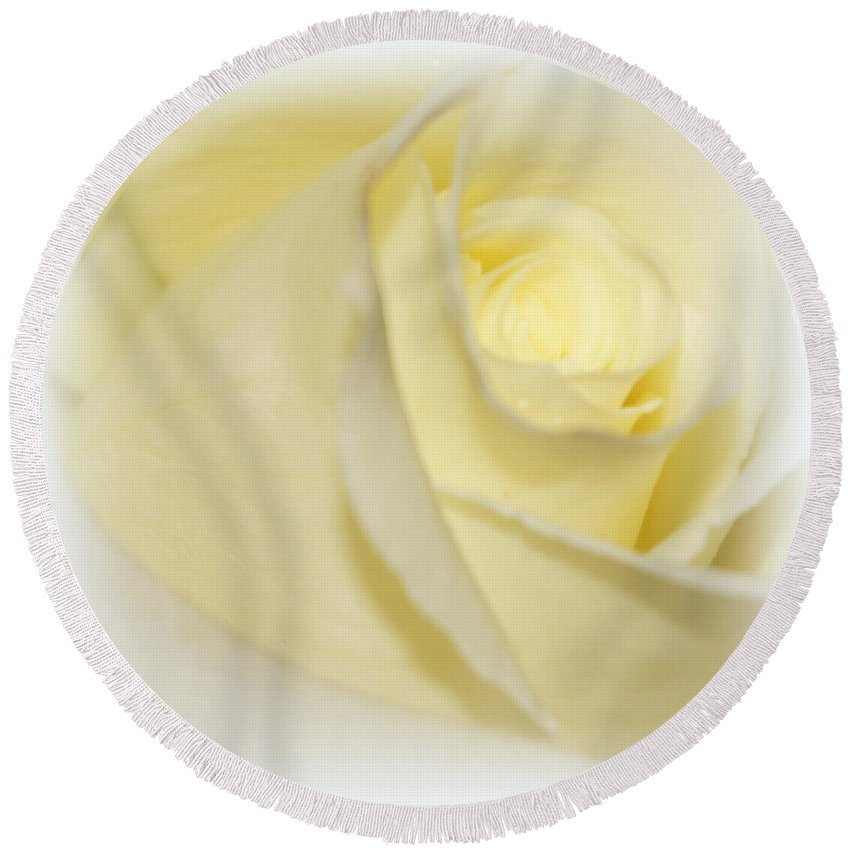 Digital Photograph Round Beach Towel featuring the photograph Rose Fades To White by Laurie Pike