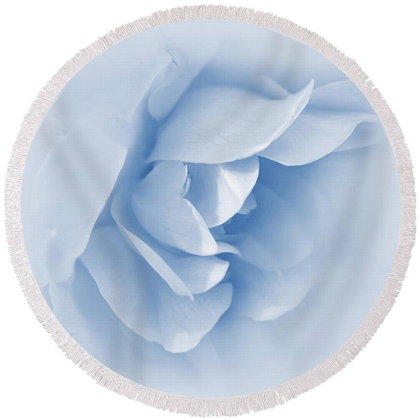 Rose Round Beach Towel featuring the photograph Rose Flower Petals Soft Blue by Jennie Marie Schell