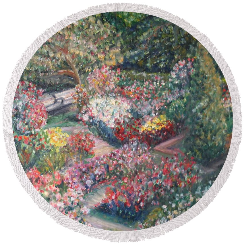 Impressionist Landscape Round Beach Towel featuring the painting Rose Garden by Quin Sweetman