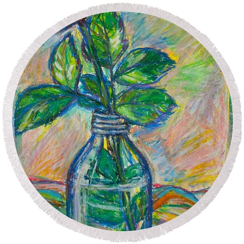Still Life Round Beach Towel featuring the painting Rose In A Bottle by Kendall Kessler