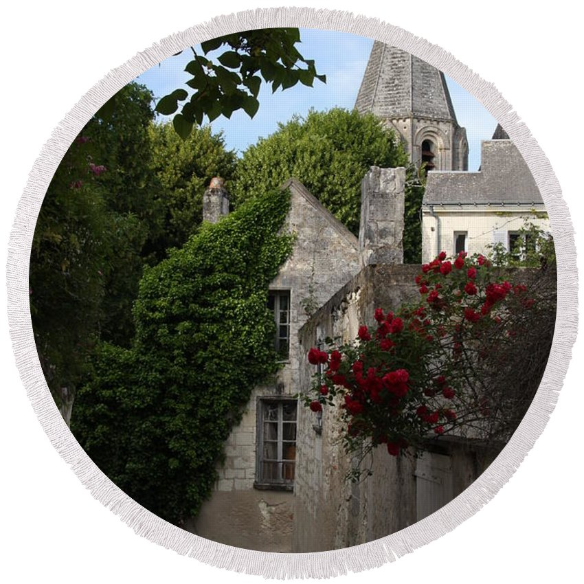 Narrow Street Round Beach Towel featuring the photograph Rose Lane In Loches by Christiane Schulze Art And Photography